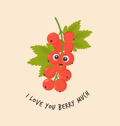 Funny red currant character design vector