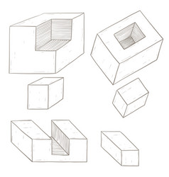 geometric figures cube shapes hand drawn sketch vector image