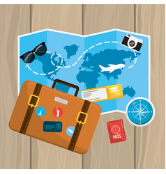 Global map with travel briefcase and ticket vector