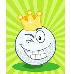 Golf Ball Character With Gold Crown Winking vector image
