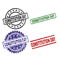 Grunge textured constitution day seal stamps vector