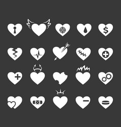 Hearts icons healthy and love heart pulse vector