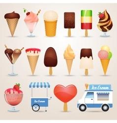 Ice cream cartoon icons set vector image