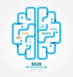 Infographics blue paper brain design diagram line vector