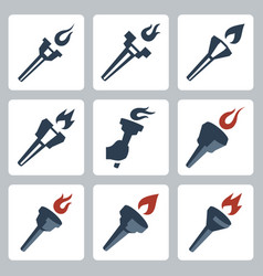 isolated torches icons set vector image