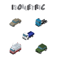 Isometric car set of lorry auto armored and vector