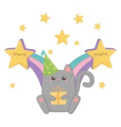 kawaii cat and happy birthday design vector image