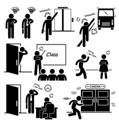 late and rushing for elevator bus class date job vector image