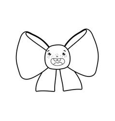 line kawaii happy ribbon bow accessory vector image