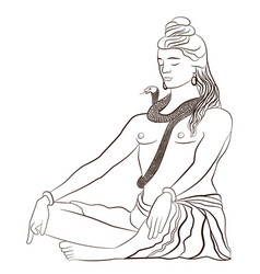 Lord shiva in meditation greeting card for maha vector