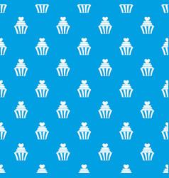 love cupcake pattern seamless blue vector image