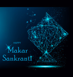 makar sankranti greeting card with polygonal kite vector image