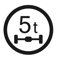 Maximum axle load 5 tones sign line icon vector