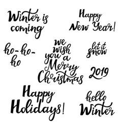 merry christmas happy new year 2019 hello winter vector image