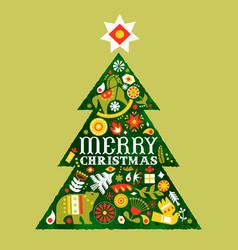 Merry christmas retro watercolor folk tree card vector