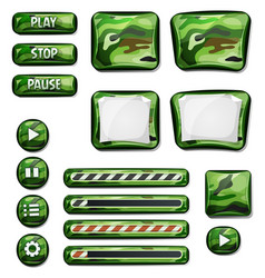 Military camo icons elements for ui game vector