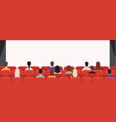 People in cinema from back movie theater audience vector