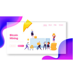 people mining bitcoin cryptocurrency landing page vector image