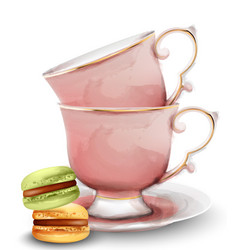 Pink watercolor tea cups with macaroon sweets vector