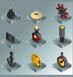 Piracy color gradient isometric icons vector