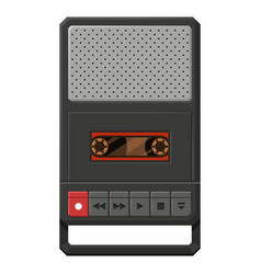 portable cassette tape player flat vector image