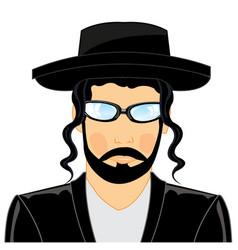 Portrait jew rabbi on white background is vector
