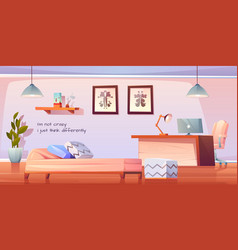 psychologist or psychotherapist office with stuff vector image