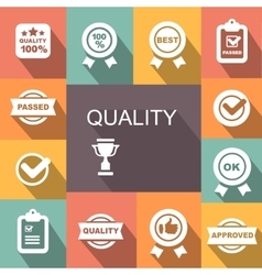 Quality control related icon set vector