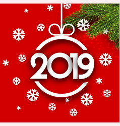 red 2019 new year background with fir branches and vector image
