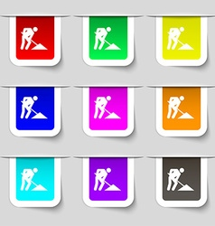 Repair of road construction work icon sign set of vector