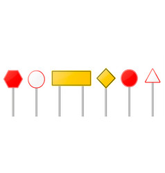 road signs red and yellow empty banners vector image