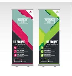 Roll up banner template design vector