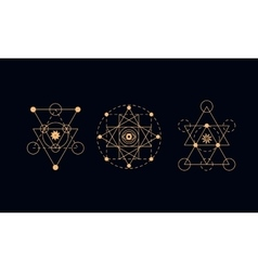 Sacred geometry alchemy symbols vector image