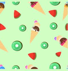 seamless pattern ice cream watermelon and kiwi vector image