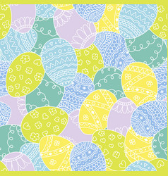 seamless pattern with easter hand drawn eggs vector image
