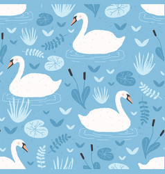 seamless pattern with white swans floating in vector image
