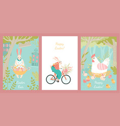 set for easter with cute characters vector image