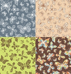 Set of seamless patterns of butterflies vector image