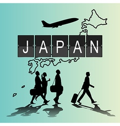 Silhouette people on japan digital board vector