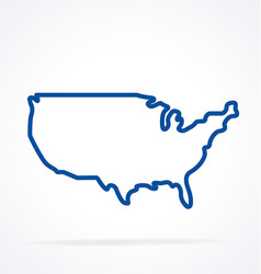 simplified usa america map outline vector image