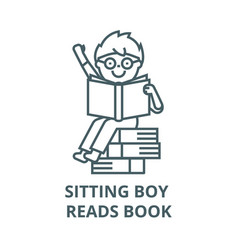 sitting boy reads book line icon linear vector image