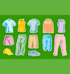 stickers with sportswear vector image