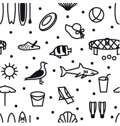 Summer icons seamless pattern black line set vector