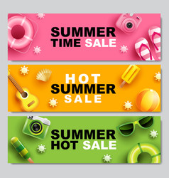 Summer sale banner layout design colorful theme vector