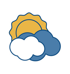 Sun and clouds icon vector