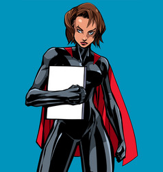 superheroine holding book no mask vector image