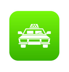 taxi car icon digital green vector image