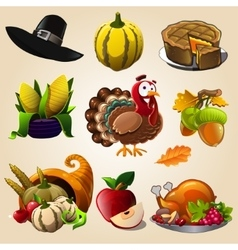 Thanksgiving day items vector image