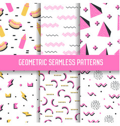 trendy geometric elements seamless patterns set vector image