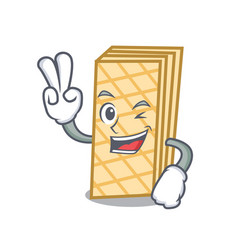 two finger waffle character cartoon style vector image